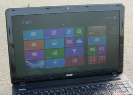 Acer's TravelMate P253-M outdoors.