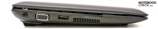 Left: DC-in, VGA, 1 USB 2.0