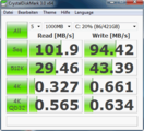 Crystal Disk Mark: 102 MB/s sequential read speed