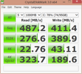 Crystal Disk Mark: 487 MB/s (seq. read)