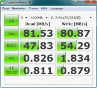Crystal Disk Mark 3: 81.5 MB/s Sequential Read