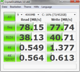 Crystal Disk Mark 3.0: 78 MB/s Read Rate