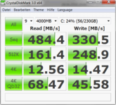 Crystal Disk Mark 3.0: 484/330 MB/s reading/writing