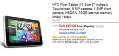 HTC Flyer spotted on Amazon for €669