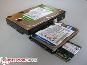 The X5 next to 2.5-inch and 3.5-inch SATA WD HDDs