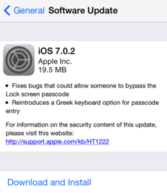 Apple rolls out iOS 7.0.2 with security fixes