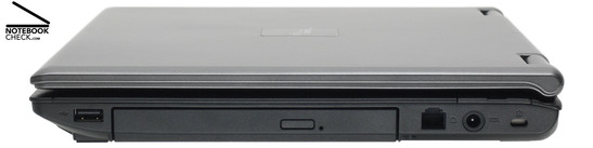 Right Side: 1x USB-2.0, DVD burner, 54k-Modem, Power Connector, Kensington Lock