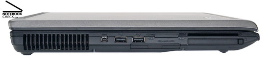 Left Side: Vent holes, FireWire, 2x USB-2.0, ExpressCard/54, 5in1 Card Reader, PC-Card, SmartCard