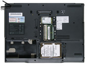 Although the hard disk and the RAM can be accessed via maintenance covers, the fan is unfortunately not easily accessible via such, so cleaning it is difficult.