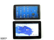 "Although both the Archos and the Folio are 10.1"" devices, the case of the Toshiba is noticeably larger and heavier."