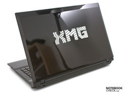 an elegant pin-striped pattern and the XMG logo