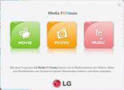 LG's Media FUNtasia, a kind of media center for movies, pictures and music.