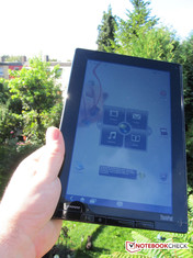 The Lenovo tablet used outdoors.