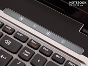 The panel of special function keys above the keyboard lets you change the fan mode amongst other things.