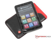 The leather sleeve provides the tablet with perfect protection.