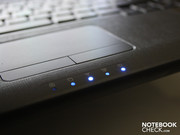 The status LEDs on the front side are the only blinking elements.