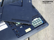 The bottom has a maintenance cover. It accommodates the hard disk,