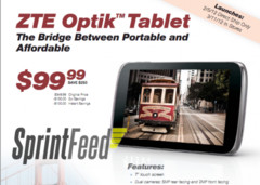 "ZTE Optik latest to hit Sprint carrying 7"" screen, Honeycoms and $100 tag"