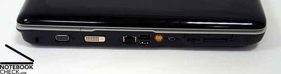 Left Side: Kensington Lock, VGA, DVI-D, LAN, 2x USB, S-Video, Firewire, Cardreader, ExpressCard