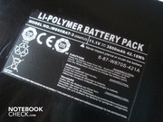The lithium polymer battery has 42.18 Wh