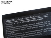 The six cell lithium-ion battery has 53 Wh