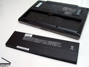 The lithium polymer battery with a capacity of 36.26Wh, which is built into the front part of the thin base unit,...