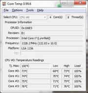 The temperature gradually rises in the processor cores and graphic card at the beginning of the stresstest