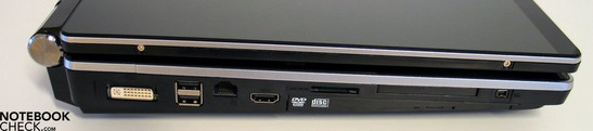 Left Side: DVI, 2xUSB, LAN, HDMI, card reader, Express card, FireWire, opt. drive