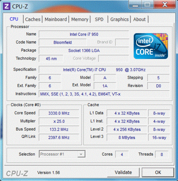 CPU-Z - Stock Clock