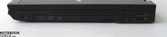 Right side: ExpressCard, Firewire, DVD Drive, audio ports, 2x USB 2.0