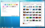Like on Vista different colours and backgrounds can be applied (the desktop background can be configured as a slideshow)