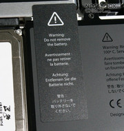 The customer is not permitted to replace the Lithium Ion polymer battery with a capacity of 60 Wh, which runs up to 2 - 7.5 h.