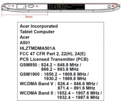 Acer Iconia A501 with 3G hits FCC