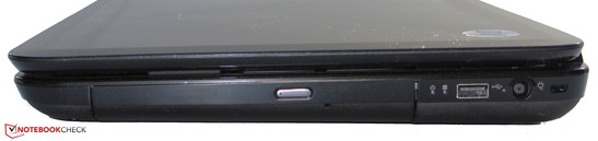 right side: Kensington lock slot, USB 2.0, DVD burner