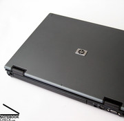 This notebook has the typical HP business look with blue-grey surfaces and a black base unit.