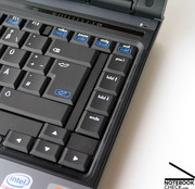 Typing can be characterized by a good feedback and an averagely long key travel.