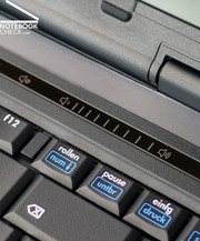 The hot keys are touch sensitive areas in a moulding above the keyboard.