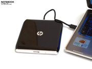 Although the laptop does not have an internal optical drive, it does have an external USB-DVD drive which is delivered along with the laptop.