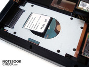 The notebook has place for only one hard disk. Our prototype has a 320 GByte sized HDD.