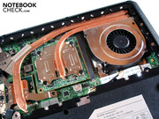 A single cooling fan is responsible for both the CPU and GPU exhaust