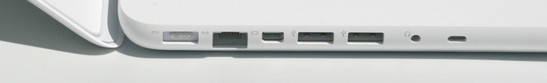 MagSafe power socket, Gigabit LAN, mini-display port, 2 x USB 2.0, analogue/ optical audio output or iPhone headset connection, Kensington lock slot.