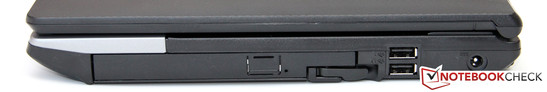 Right: DVD burner / modular bay, 2x USB 2.0, power socket