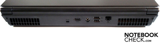 Rear: Kensington security lock, HDMI, DC-in, 2 USB 2.0, RJ-45 gigabit LAN