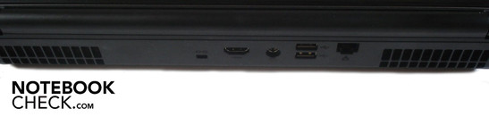 Rear: Kensington lock, HDMI, DC-in, 2x USB 2.0, RJ-45 gigabit LAN