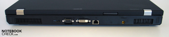 Back side: Display Port, VGA, DVI, LAN, Power supply