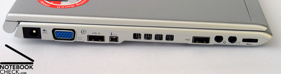 Left Side: Power Connector, VGA port, USB, Firewire, FAN, USB, Audio