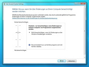 Windows 7 UAC level 3: warning messages only for important changes to programs, dimming of the display