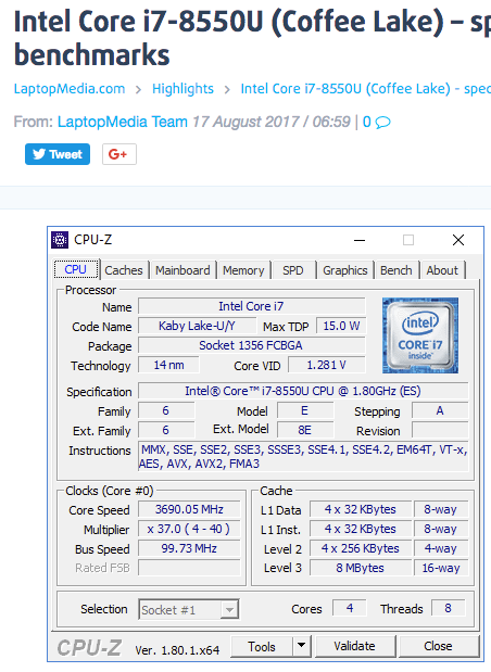 Intel Core i7-8550U vs Intel Core i5-8250U